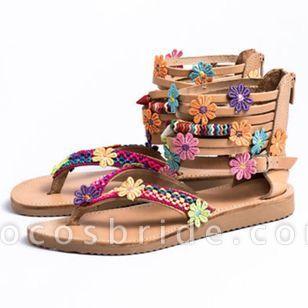 Women's Applique Zipper Flip-Flops Flat Heel Sandals