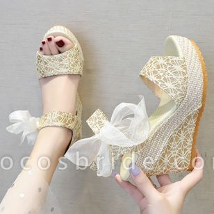 Women's Geometric Lace-up Heels Cloth Wedge Heel Sandals