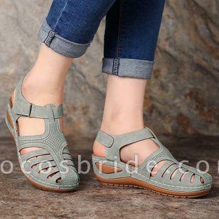 Women's Hollow-out Velcro Round Toe Flat Heel Sandals
