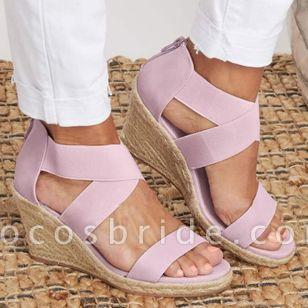 Women's Leopard Zipper Round Toe Heels Wedge Heel Sandals