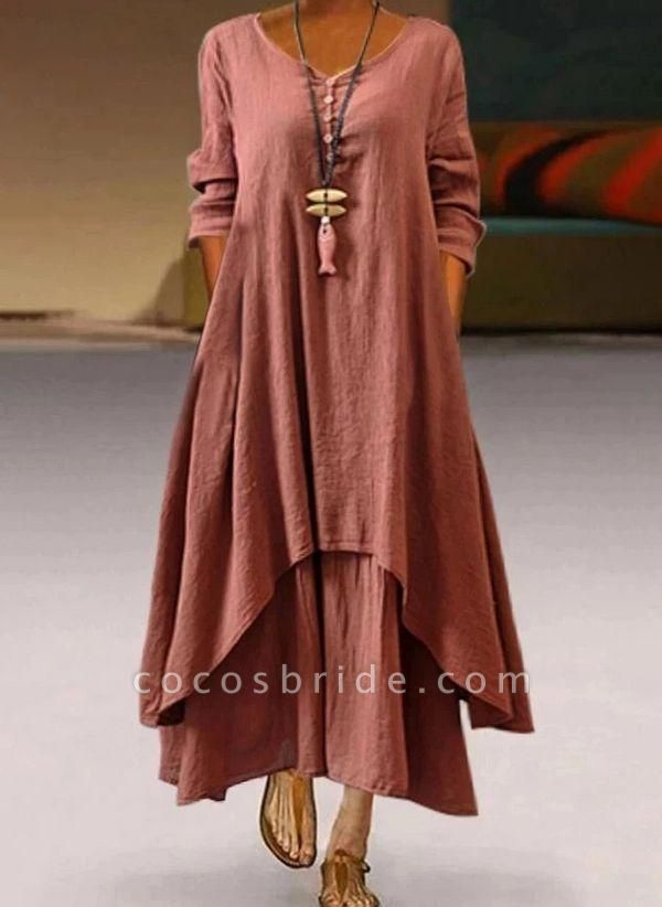 Red Plus Size Tunic Solid V-Neckline Casual Buttons Plus Dress