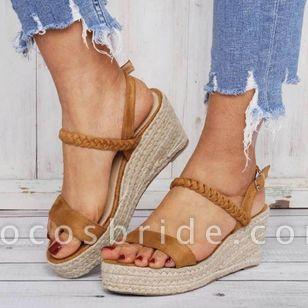 Women's Buckle Slingbacks Nubuck Wedge Heel Sandals Platforms