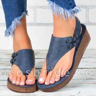 Women's Buckle Hollow-out Flip-Flops Wedge Heel Sandals Platforms