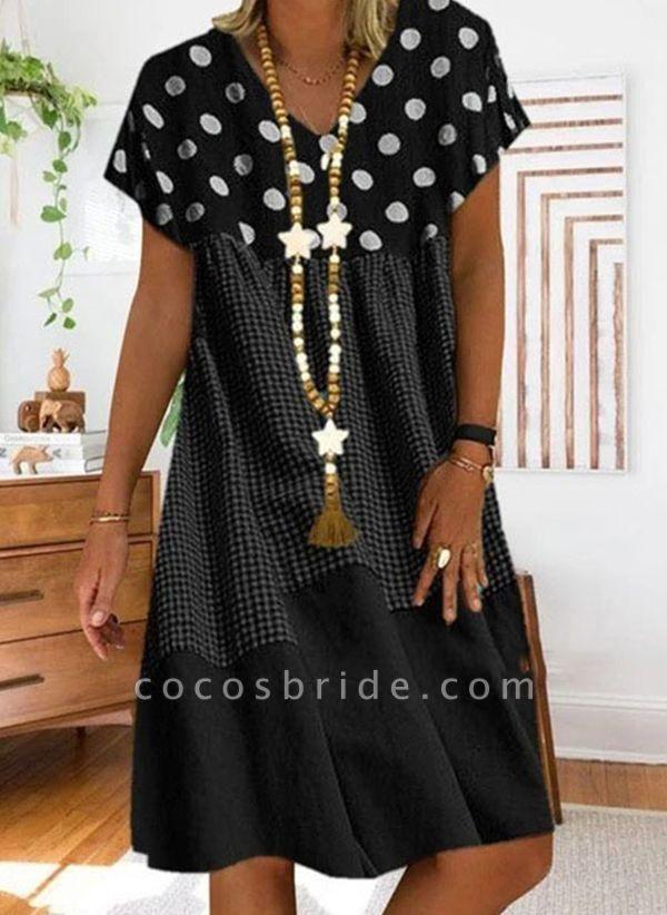 Black Plus Size Tunic Polka Dot V-Neckline Casual Knee-Length Plus Dress