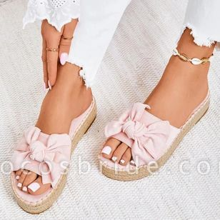 Women's Bowknot Flats Nubuck Flat Heel Sandals