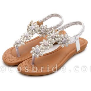 Women's Beading Slingbacks Cloth Flat Heel Sandals