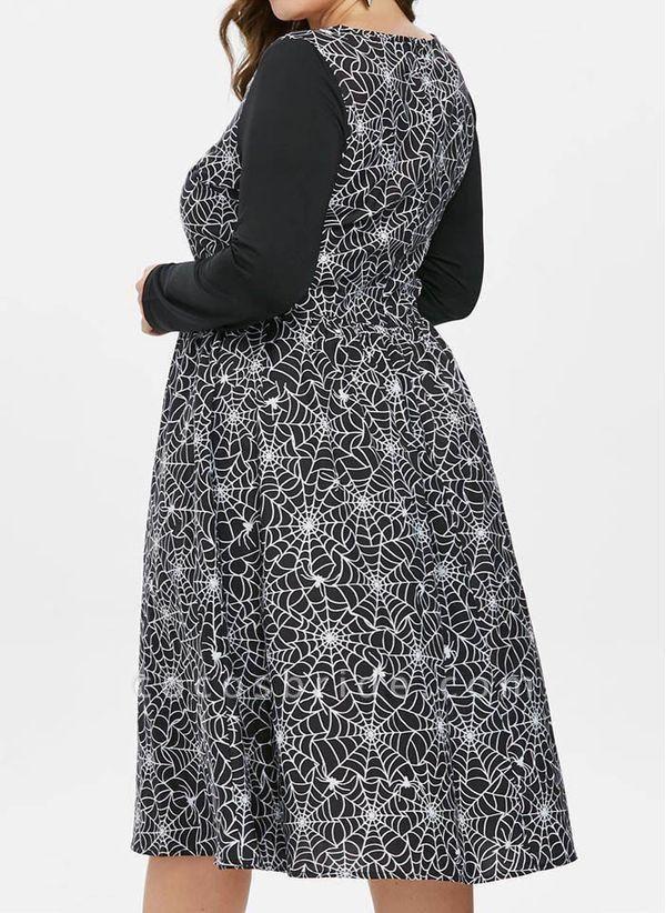 Black Plus Size Color Block Round Neckline Casual Ruffles Knee-Length Plus Dress