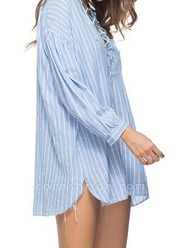 Blue Plus Size Tunic Stripe V-Neckline Casual Mini Plus Dress