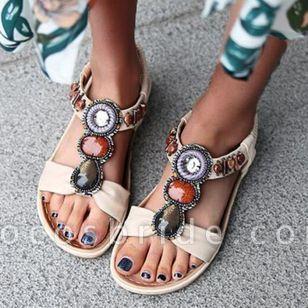 Women's Beading Round Toe Flat Heel Sandals