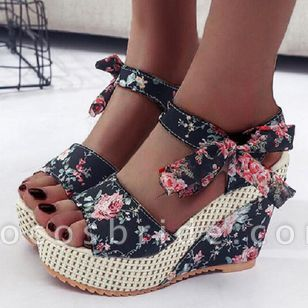 Women's Lace-up Flower Slingbacks Nubuck Wedge Heel Sandals Platforms