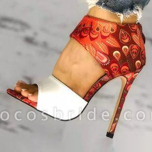 Women's Zipper Flower Heels Stiletto Heel Sandals