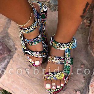Women's Leopard Heels Low Heel Sandals