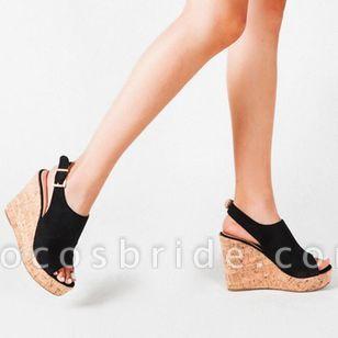 Women's Buckle Ankle Strap Peep Toe Wedge Heel Sandals