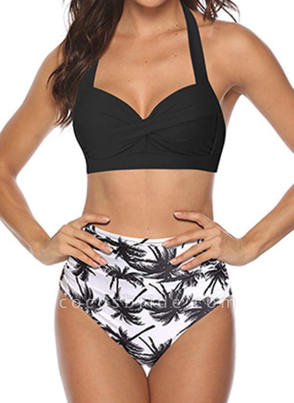Polyester Halter Pattern Bikinis Swimwear