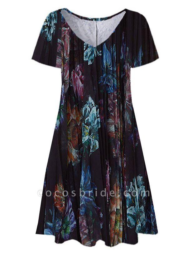 Black Plus Size Tunic Floral V-Neckline Casual Knee-Length Plus Dress