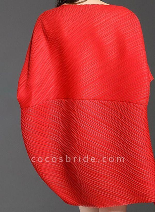 Dark Blue Plus Size Tunic Solid Round Neckline Elegant Above Knee Plus Dress