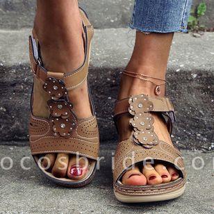 Women's Velcro Round Toe Nubuck Flat Heel Sandals