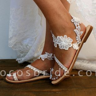 Women's Flower Toe Ring Lace Flat Heel Sandals