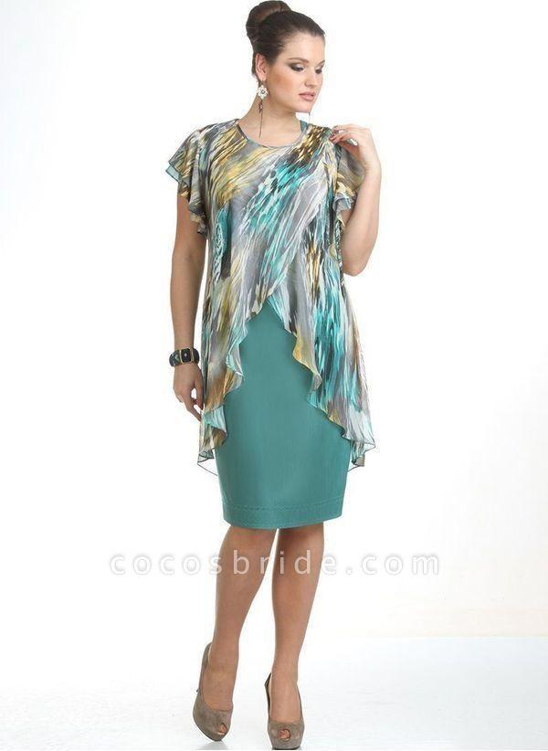 Green Plus Size Color Block Round Neckline Elegant Knee-Length X-line Dress Plus Dress