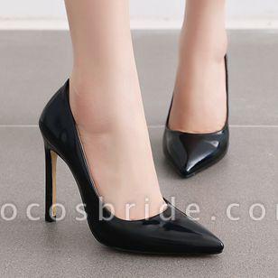 Women's Pointed Toe Heels Patent Leather Stiletto Heel Sandals