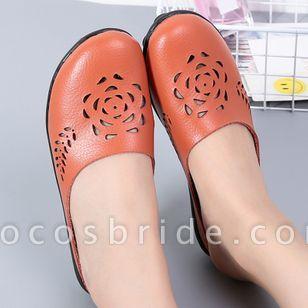 Women's Hollow-out Flower Closed Toe Slingbacks Flat Heel Sandals