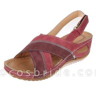 Women's Velcro Round Toe Flat Heel Sandals