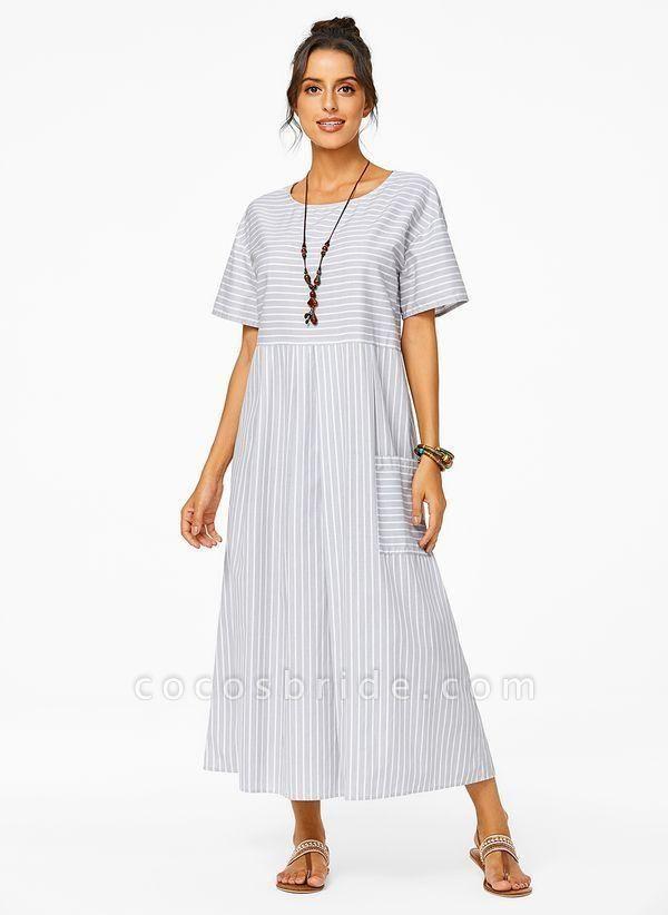 Plus Size Tunic Stripe Round Neckline Casual Pockets Plus Dress