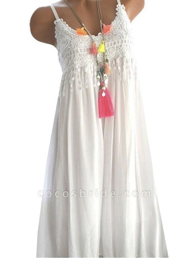 White Casual Solid Ruffles Round Neckline X-line Dress