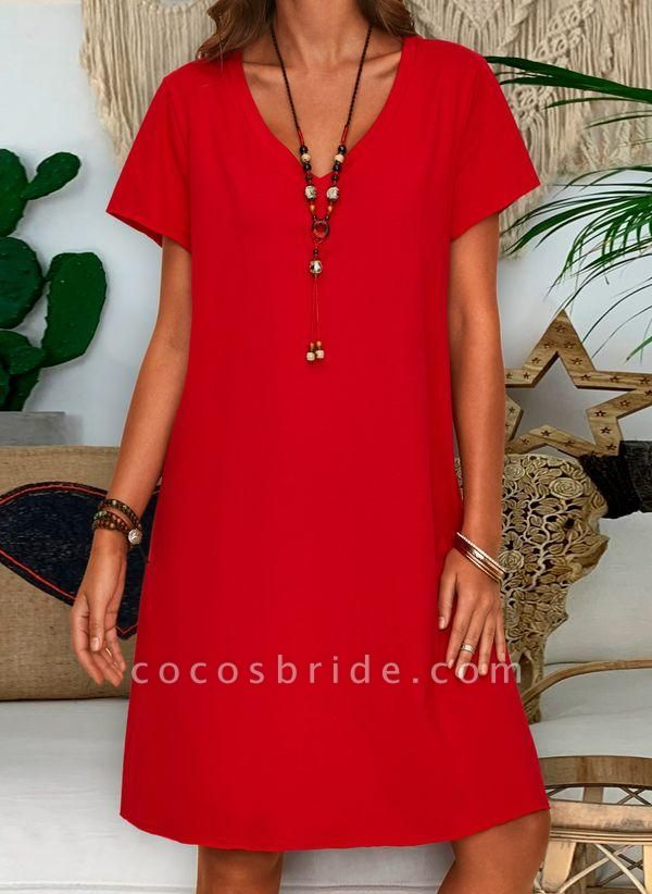 Red Plus Size Tunic Solid V-Neckline Casual Knee-Length Plus Dress