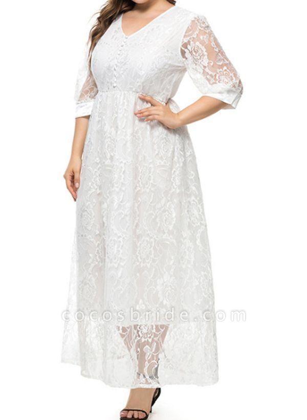 White Plus Size Floral V-Neckline Casual Maxi X-line Dress Plus Dress