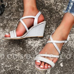 Women's Buckle Slingbacks Wedge Heel Sandals Wedges