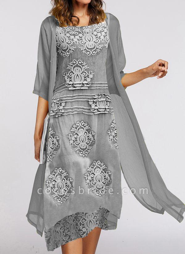 Elegant Floral Wrap Round Neckline X-line Dress