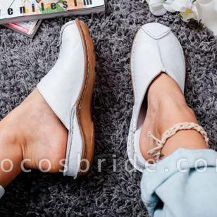 Women's Split Joint Closed Toe Round Toe Slingbacks Flat Heel Sandals