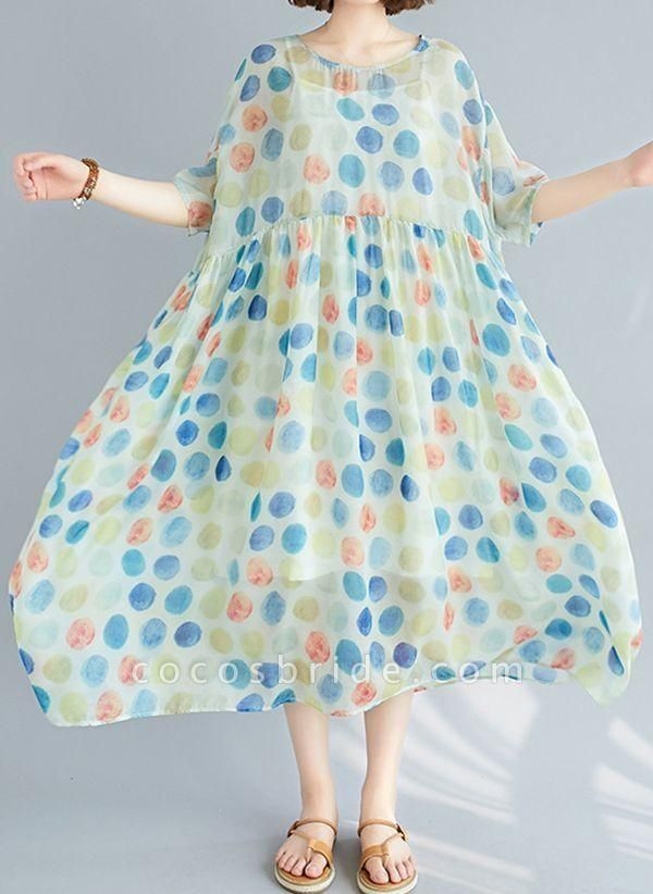 Multicolor Plus Size Tunic Polka Dot Round Neckline Casual Wrap Plus Dress