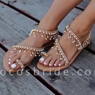 Women's Pearl Tassel Toe Ring Flat Heel Sandals