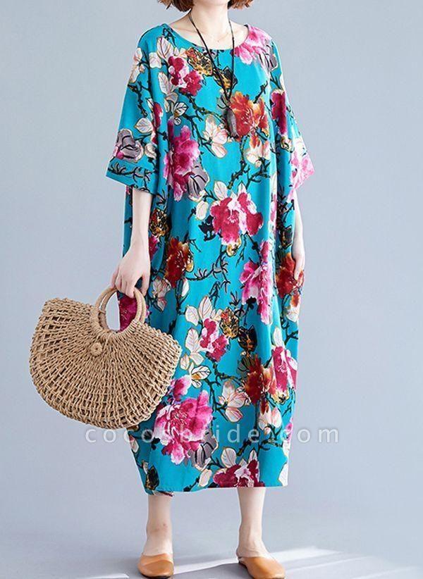 Blue Plus Size Tunic Floral Round Neckline Casual Midi Plus Dress