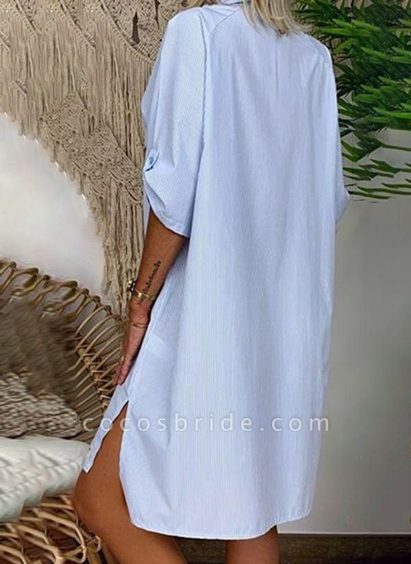 Blue Plus Size Solid V-Neckline Casual Above Knee Shift Dress Plus Dress
