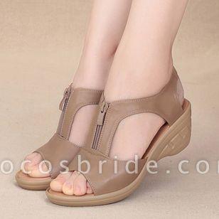 Women's Peep Toe Low Heel Sandals