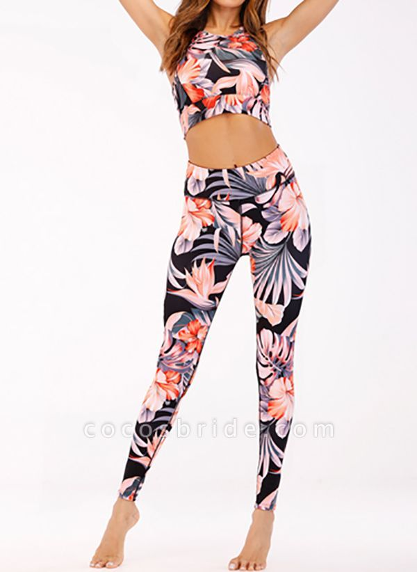 Women's Athletic Casual Polyester Yoga Clothing Suit Fitness & Yoga