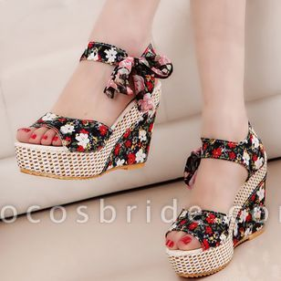 Women's Lace-up Flower Slingbacks Cloth Wedge Heel Sandals Platforms