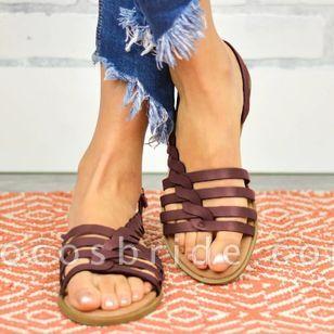 Women's Knit Round Toe Flat Heel Sandals