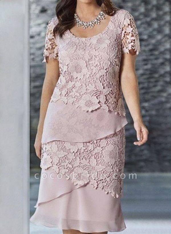 Pink Plus Size Pencil Solid Round Neckline Elegant Lace Plus Dress