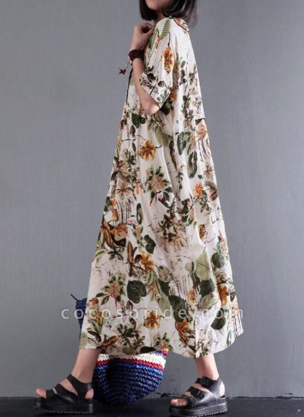 Yellow Plus Size Floral Round Neckline Casual Midi Shift Dress Plus Dress