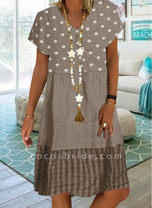 Khaki Plus Size Tunic Polka Dot V-Neckline Casual Knee-Length Plus Dress