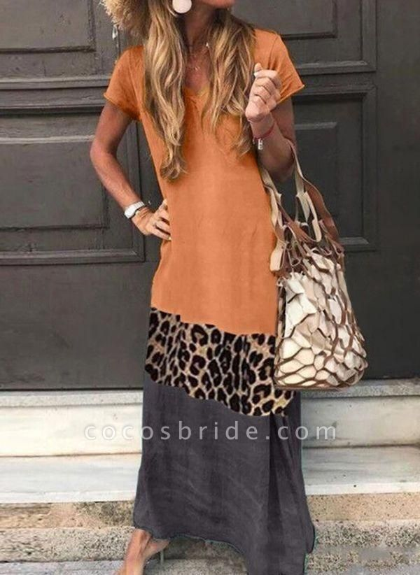 Orange Casual Color Block Tshirt V-Neckline Shift Dress
