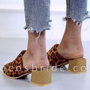 Women's Leopard Pointed Toe Heels Nubuck Chunky Heel Sandals