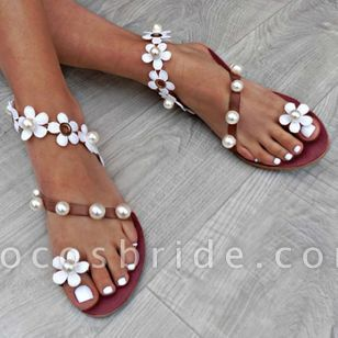 Women's Applique Pearl Toe Ring Flat Heel Sandals