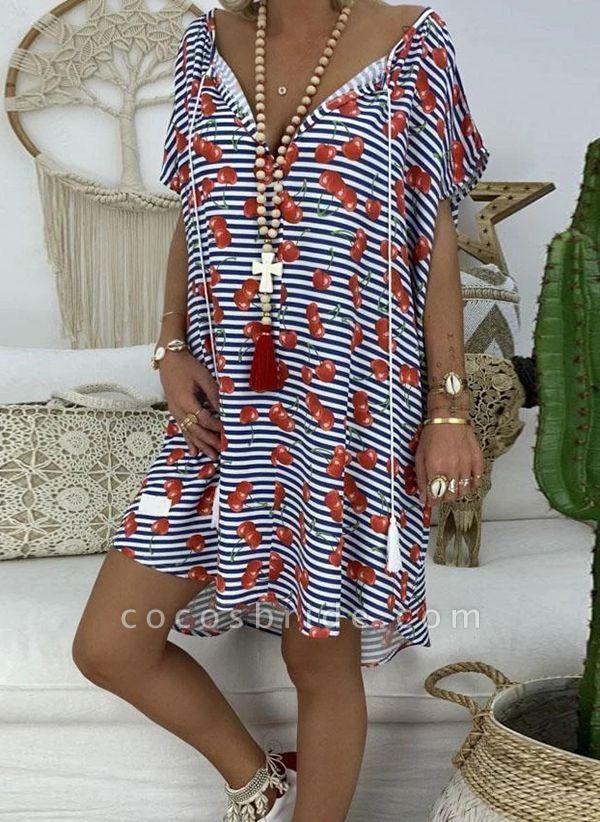 Red Plus Size Tunic Stripe V-Neckline Casual Knee-Length Plus Dress