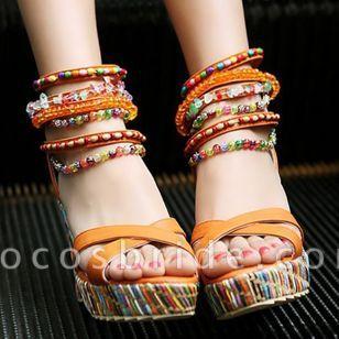 Women's Pearl Heels Leatherette Wedge Heel Sandals