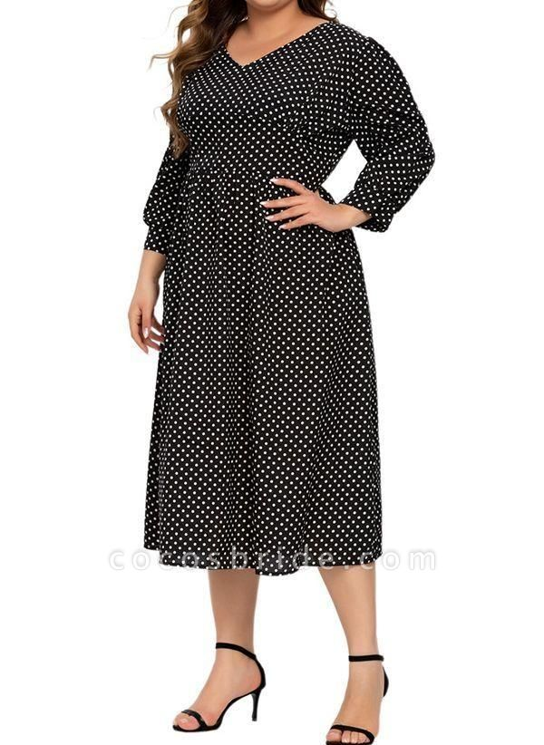 Black Plus Size Color Block V-Neckline Casual Ruffles Midi Plus Dress